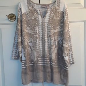 White and tan tunic from Chico's